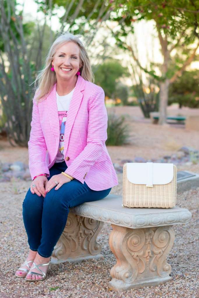 How to Style a Pink Gingham Blazer for Summer