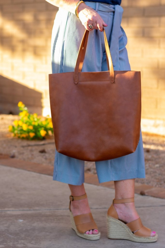 leather tote and wedge sandals