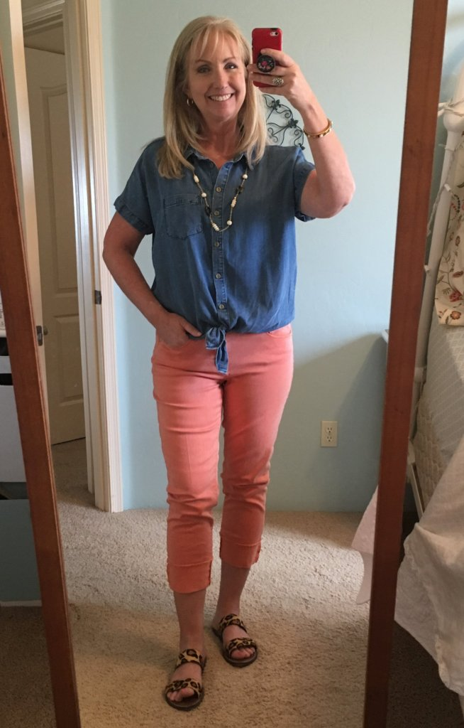 Chambray & Orange Cropped Jeans