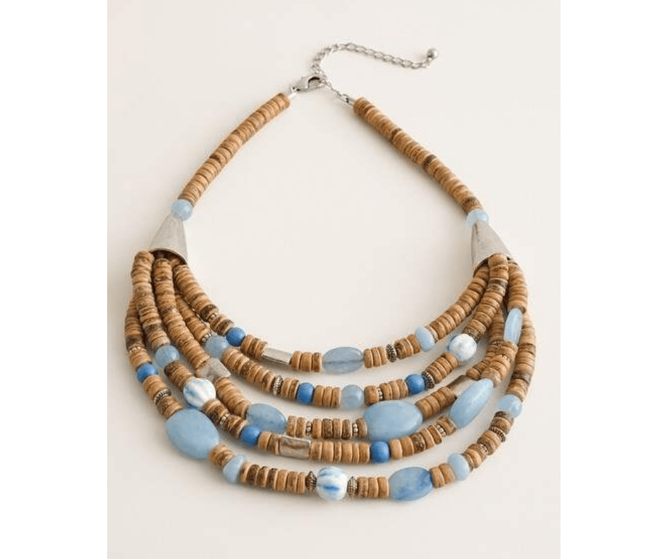 blue and neutral multi strand necklace