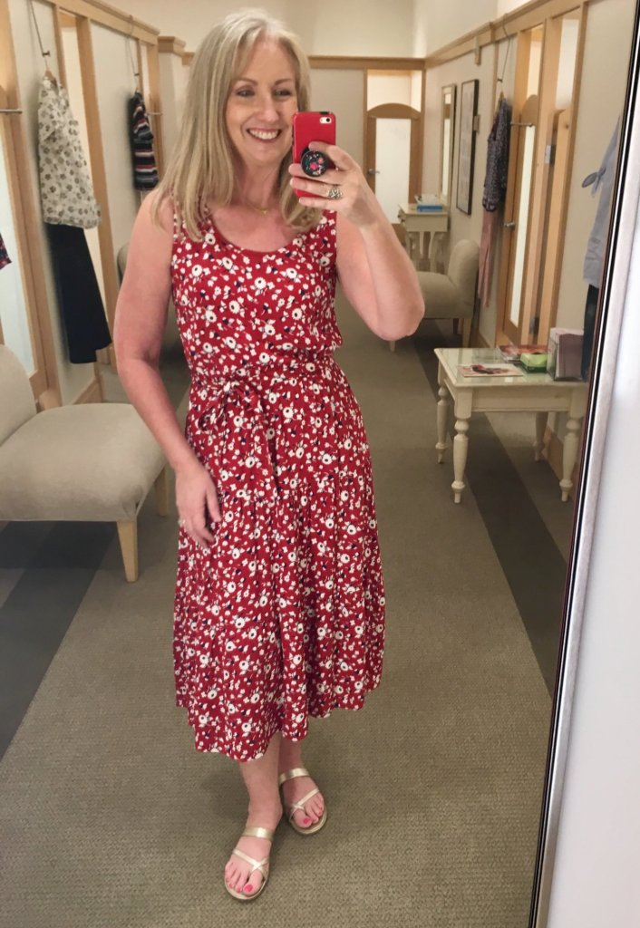 red floral crepe tiered maxi dress