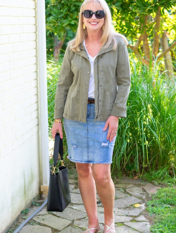 Transition into Fall with a White Tee and Denim Skirt