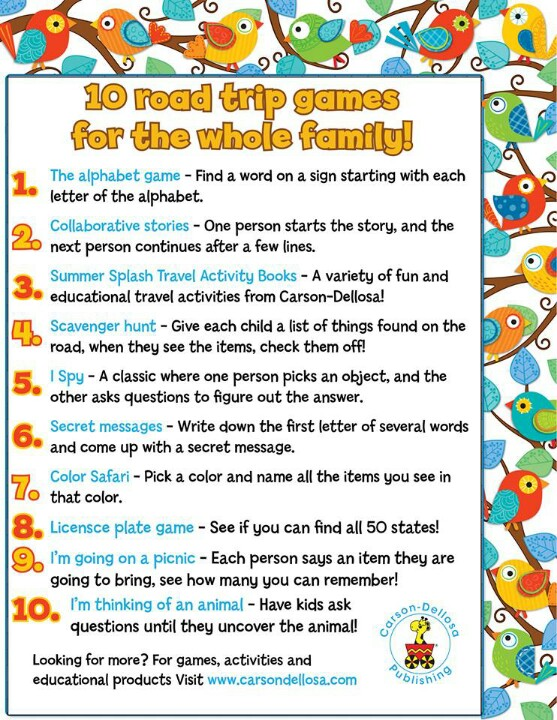 10 road trip games for the whole family