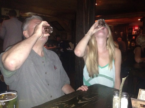 kev and mer doing shots