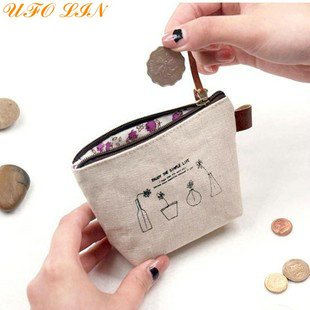 Free-Shipping-Linen-enjoy-life-small-Portable-Wallet-key-holder-fabric-coin-bag-small-Purses-Japan