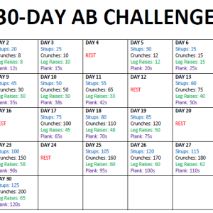 30 Day Ab Challenge Printable Calendar Search Results