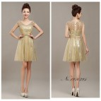 Rose Gold Sequin Bridesmaids Dresses Short