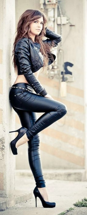 Badass leather clothes for women (020) | fashion