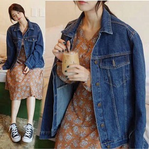 Denim jacket for women street style ideas (28)