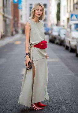 Blogger And Street Style Star Lisa Hahnbueck Wearing Red Bumbag And Louis Vuitton X Supreme Boots With Dress | ASOS Fashion And Beauty Feed