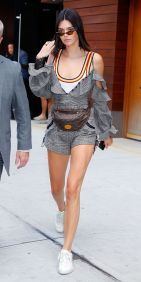 Kendall Jenner Back Again, Wearing Yet Another Luxe Fanny Pack. The Model Stepped Out In New York City Wearing Her Louis Vuitton Belt Bag, Self-Portrait Shorts And Matching Top Layered Over A Rainbow Trim Knit Tank, White Lace-up Sneakers, And Narrow Sungl