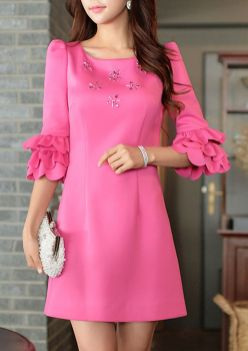 Pink sleeve dress idea for daily action 15 fashion