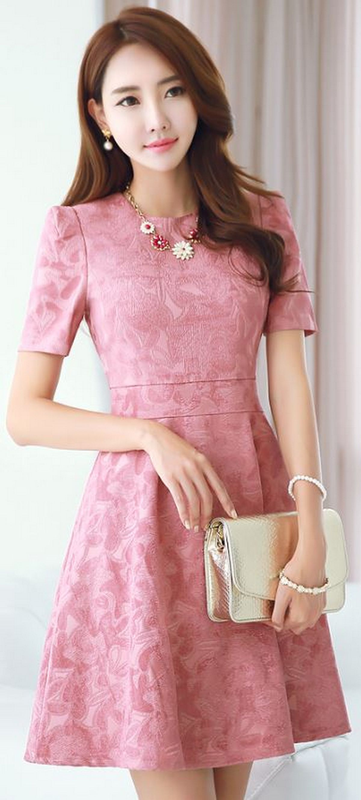 Pink sleeve dress idea for daily action 34 fashion