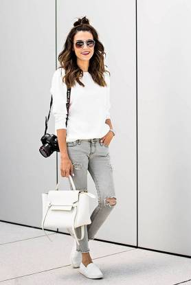 Women's white sneakers outfit 105