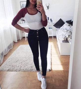 Women's white sneakers outfit 106