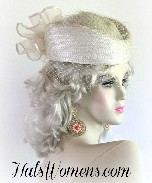 08165a89f Beige Designer Pillbox Wedding Special Occasion Hat, Women's Hats NY