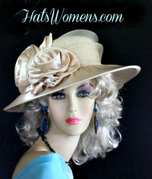 06e24a46b05b4 Woman's Champagne Beige Wide Brim Satin Bridal Designer Wedding Hat, Church  Fashion Occasion Hats