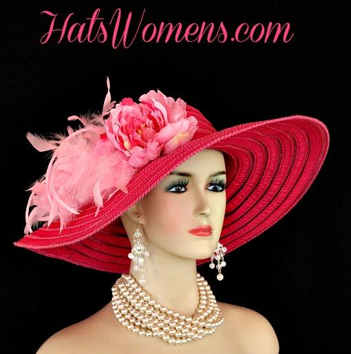 76286d18 Ladies Hot Pink Wide Brim Church Wedding Designer Fashion Hat Feathers  Flower, Kentucky Derby Hats