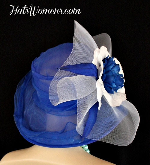 b775bb4533775 Royal Blue White Wide Brim Designer Formal Special Occasion Wedding Hat,  Fashion Hats Woman