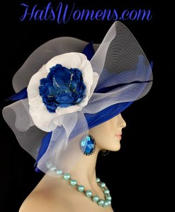 d1a95ef35d392 ... Royal Blue White Wide Brim Designer Formal Special Occasion Wedding  Hat, Fashion Hats Woman ...