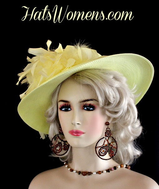 61e1a6ea600843 Ladies Yellow Kentucky Derby Hat Feathers Satin Rose, Designer Fashion  Dress Wedding Hats