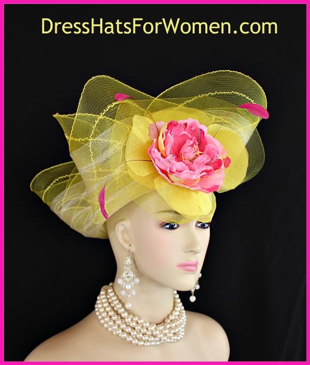 9a611269 Couture Yellow Hot Pink Kentucky Derby Hat, Custom Church Hats, Woman's  Bridal Wedding Headpiece