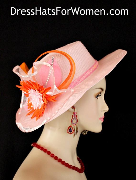 9a7e9141 Ladies Pink Orange Kentucky Derby Hat, Couture Bridal Wedding Dress Hats  For Women, Church
