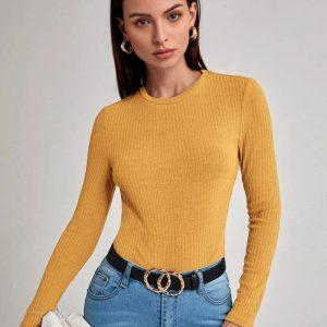 Вталена блуза в жълто