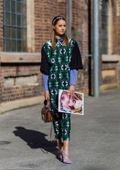 SYDNEY, AUSTRALIA - MAY 16: Isabelle Cornish wearing a green Miu Miu dress, brown bag and pink heels outside Ginger & Smart at Mercedes-Benz Fashion Week Resort 17 Collections at Carriageworks on May 16, 2016 in Sydney, Australia. (Photo by Christian Vierig/WireImage)