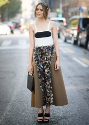 MILAN, ITALY - SEPTEMBER 21: Kristina Bazan is wearing a dress from Marni in the streets of Milan during the Milan fashion week on September 21, 2014 in Milan, Italy. (Photo by Timur Emek/Getty Images)
