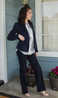 Pant suit with polka dot blouse.