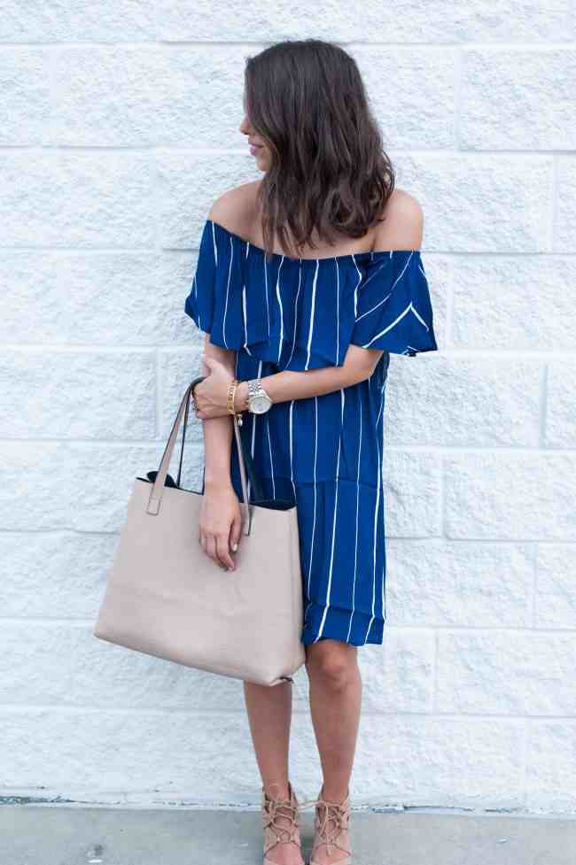 Dress Up Buttercup | Houston Fashion Blog - Dede Raad | Stripe + Off The Shoulder Dress