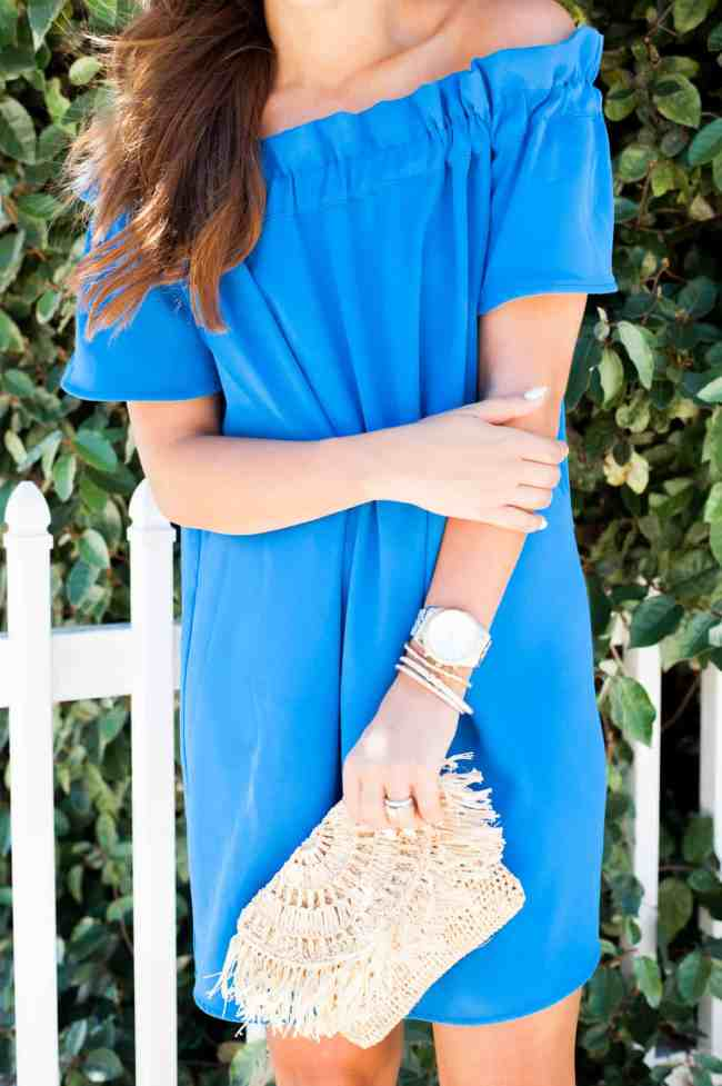 Dede Raad Blue pleione off the shoulder dress