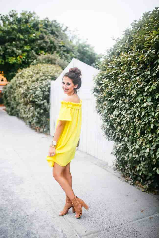 Dede Raad yellow pleione off the shoulder dress