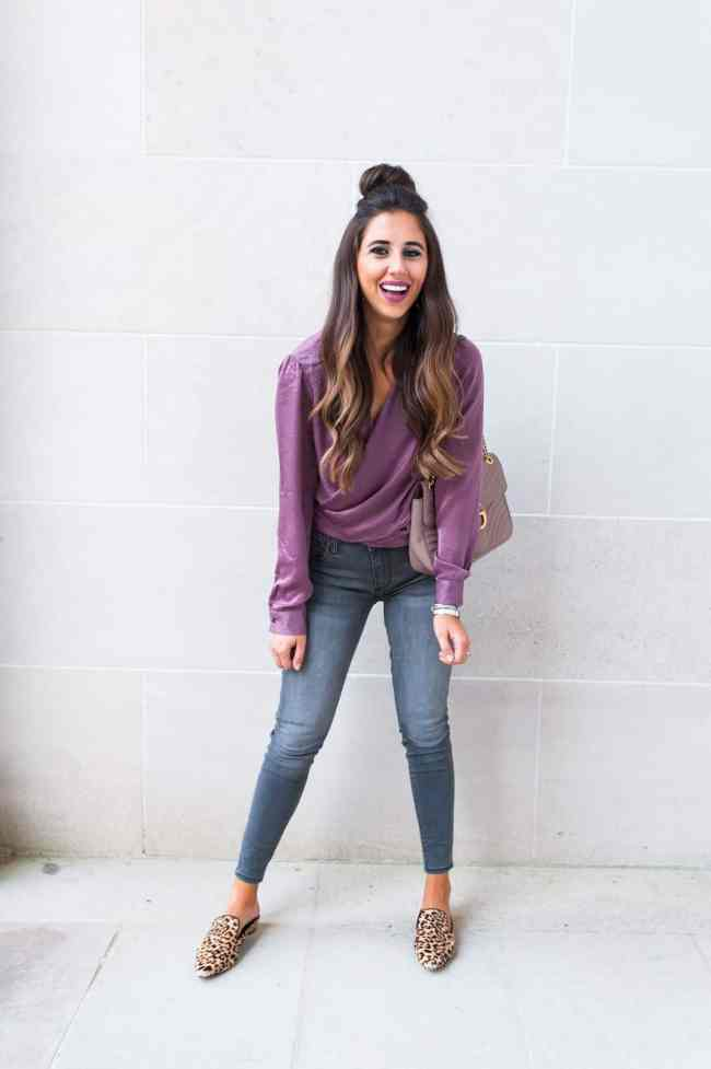 plum fall color, fashion blogger girl in plum fall sateen color top and grey wash jeans with leopard shoes