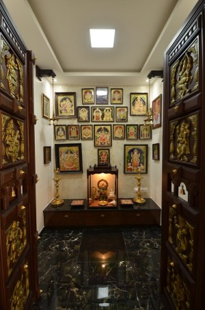 pooja designs decor door chettinad indian modern mandir traditional interior apartment ceiling false wall puja dressyourhome bangalore kitchen wooden carved