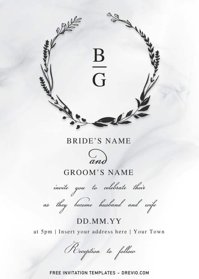Free Floral Monogram Wedding Invitation Templates For Word