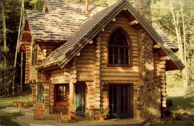 домик из бревна