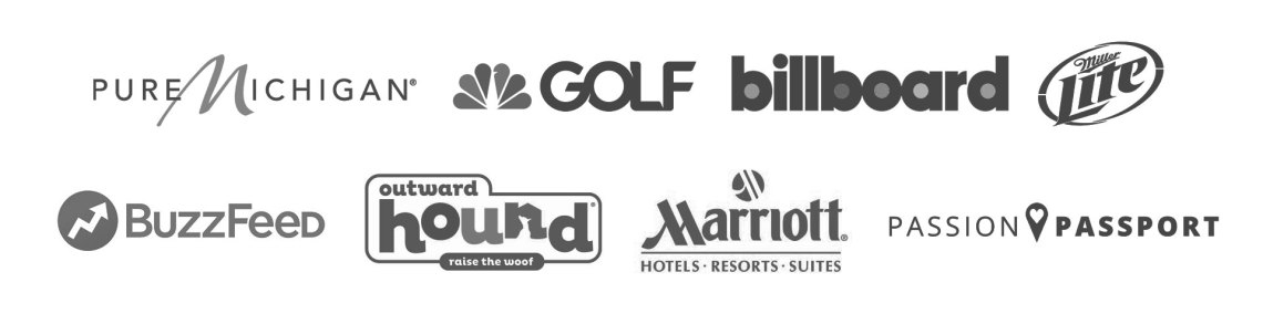 a list of logos that represent a wide variety of clients, partnerships, and features