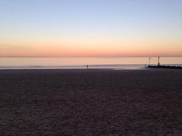 A beach at dusk