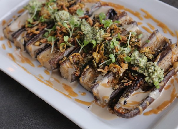 roasted Japanese eggplant vegan catering vancouver