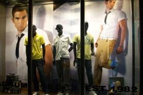 shop VMD window display menswear yellowish collection in Shenzhen shop   British Fashion Retail Brand – Magnum London :: graphical visual merchandising