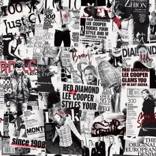 repeatable black and white pattern print red highlights newspaper inspired concept | British Fashion Denim Retail Brand – Lee Cooper in China :: RDLC collection fashion graphics