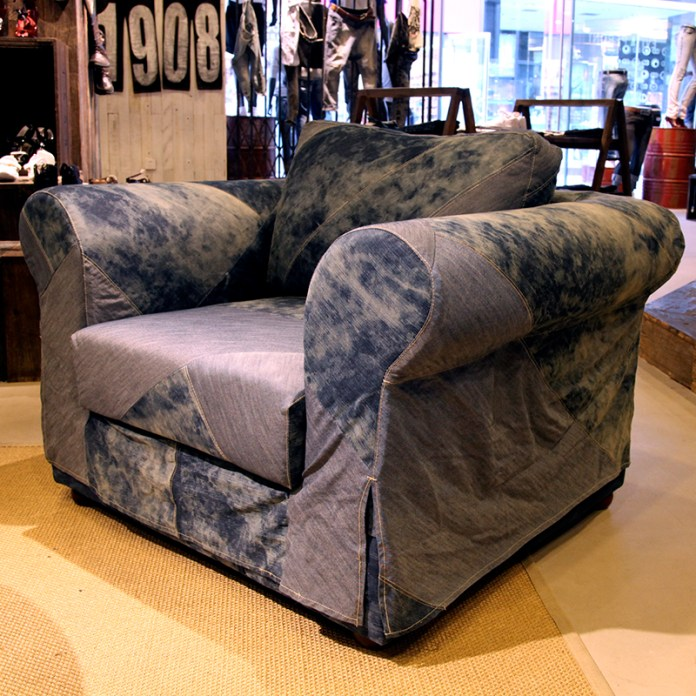 upcycling washed denim patched upholstery sofa for furniture VMD | British Fashion Denim Retail Brand – Lee Cooper in China :: fixture and furniture for flagship store