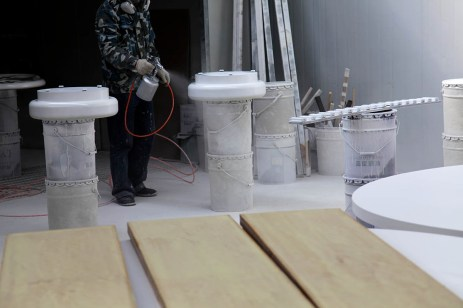 painting woodwork compartment, paint spraying, worker   Leading Retail Renovation Brand – HTHY Group :: Photography of Factory for brand book
