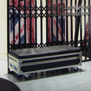 black seat bench, travel gear container VMD in-store wheeled | British Fashion Denim Retail Brand - Lee Cooper in China :: retailing design and visual merchandising all shops props
