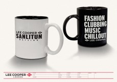 gift souvenir mug pair black on white or white on black, Beijing Sanlitun flagship store opening, fashion clubbing music chillout | British Fashion Denim Retail Brand – Lee Cooper in China :: retail design and retailing graphics