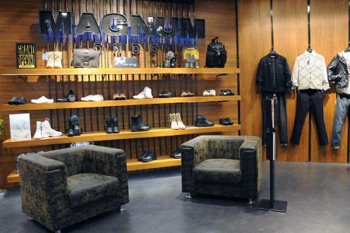 black raw steel POP stand, bag holder, magazine rack, shoes display shelf   British Fashion Retail Brand - Magnum London :: Visual Merchandising