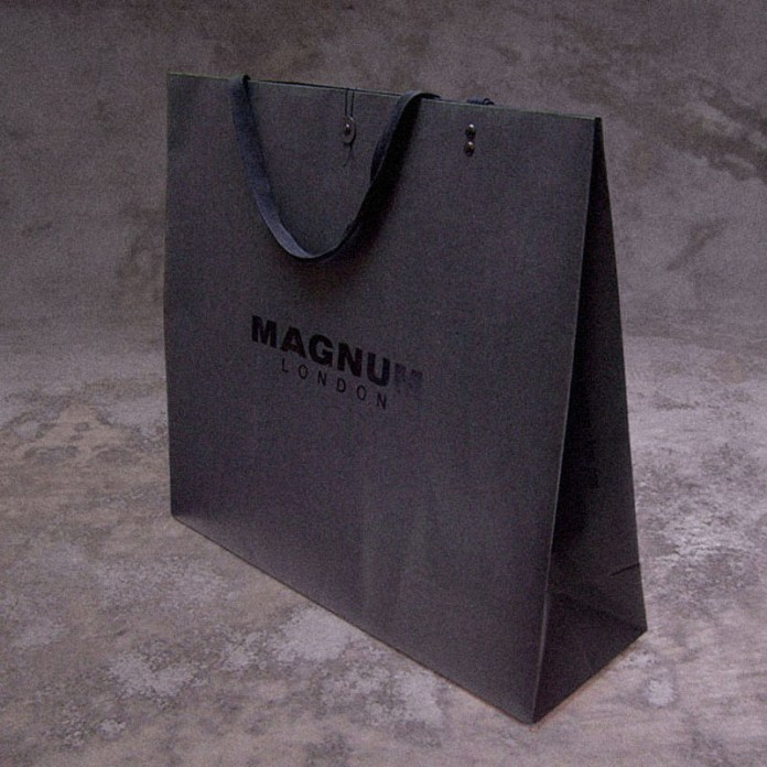 Large size paper black shopping bag, retailing packaging | Magnum London :: British Fashion Retail Brand