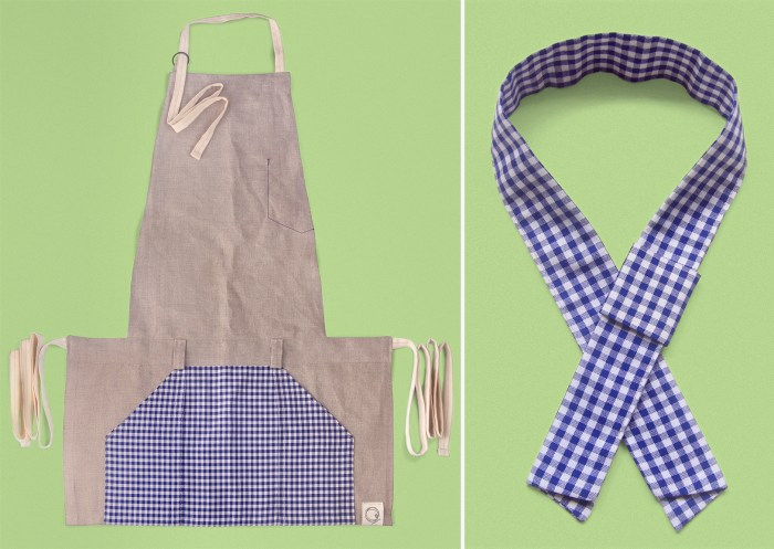 neckerchief top view, kindergarten inspired accessories merchandising, styling, uniform design, apron, blue white gingham check, zakka | Art Space with Vegetarian Café in Hong Kong : : Retail Identity and Zakka Creation
